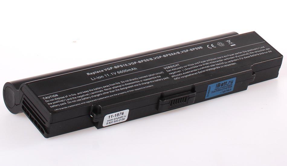 Аккумуляторная батарея iBatt 11-1576 для ноутбука SonyЕмкость (mAh): 6600. Напряжение (V): 11,1