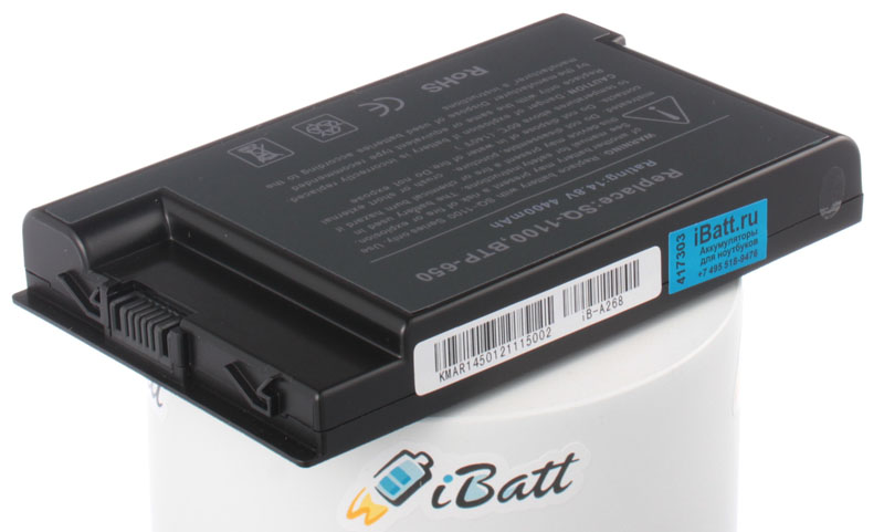 Аккумуляторная батарея для ноутбука Acer TravelMate 654XV. Артикул iB-A268.Емкость (mAh): 4400. Напряжение (V): 14,8