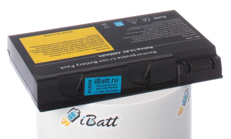 Аккумуляторная батарея для ноутбука Acer Aspire 9104LM. Артикул iB-A115.Емкость (mAh): 4400. Напряжение (V): 14,8