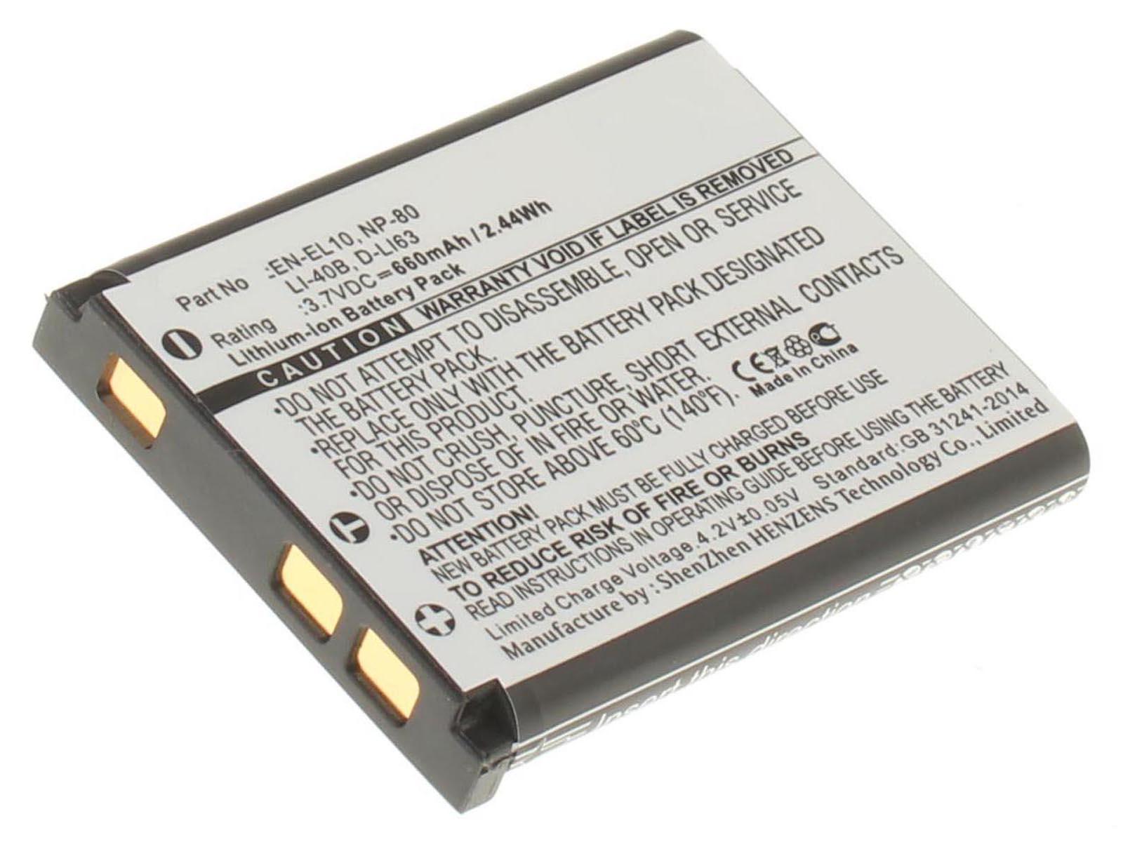 Аккумуляторная батарея LI-40B для фотоаппаратов и видеокамер Pentax. Артикул iB-F140.Емкость (mAh): 660. Напряжение (V): 3,7