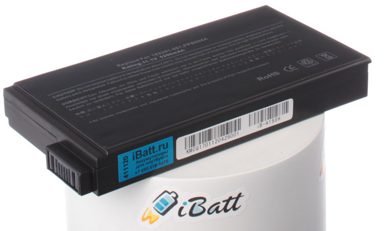 Аккумуляторная батарея для ноутбука HP-Compaq Presario 1723TC. Артикул iB-A193H.Емкость (mAh): 5200. Напряжение (V): 11,1