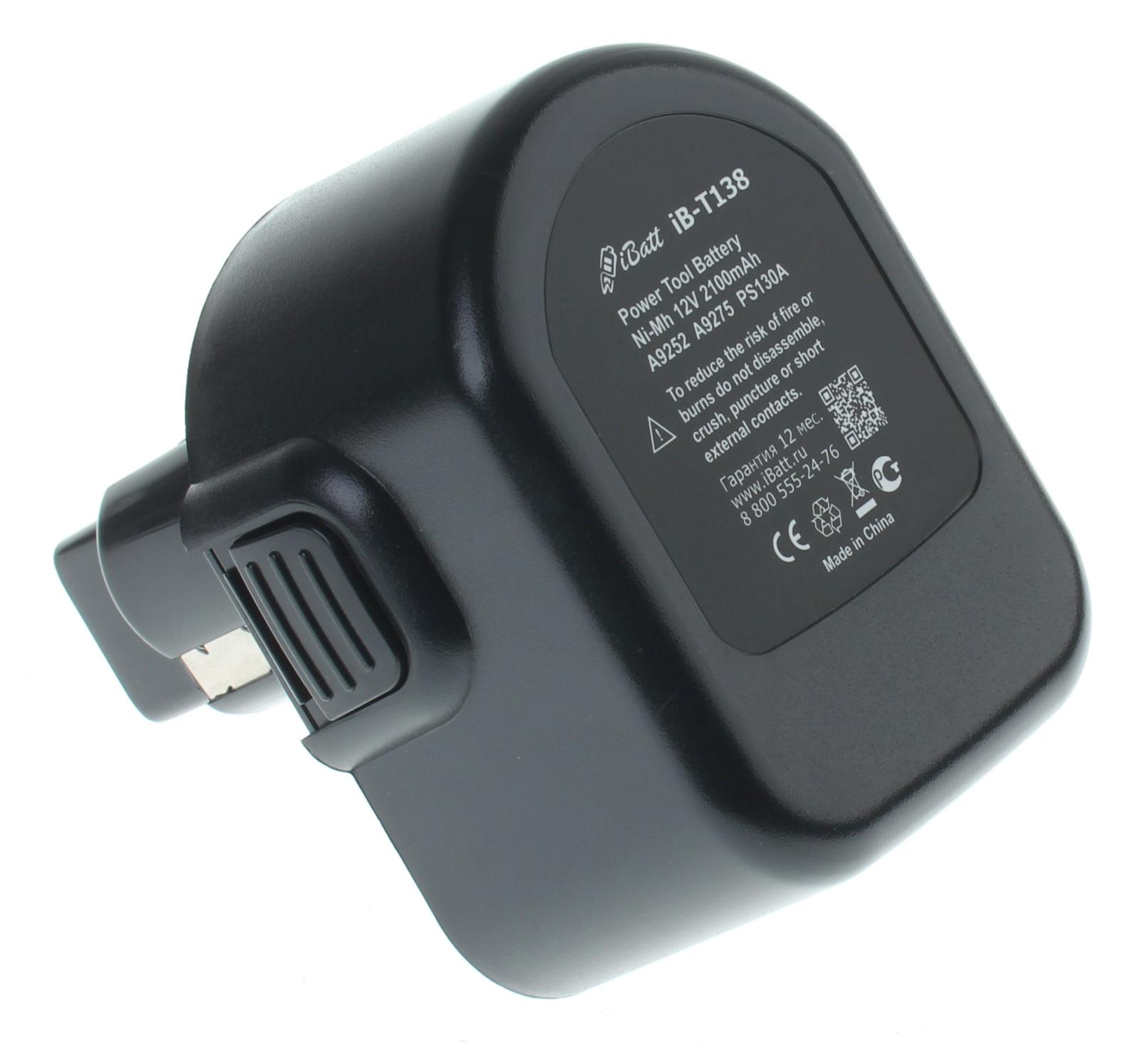Аккумуляторная батарея A9252 для электроинструмента Black & Decker. Артикул iB-T138.Емкость (mAh): 2100. Напряжение (V): 12