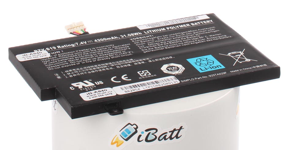 Аккумуляторная батарея BTY-S19 для ноутбуков MSI. Артикул iB-A840.Емкость (mAh): 4200. Напряжение (V): 7,4
