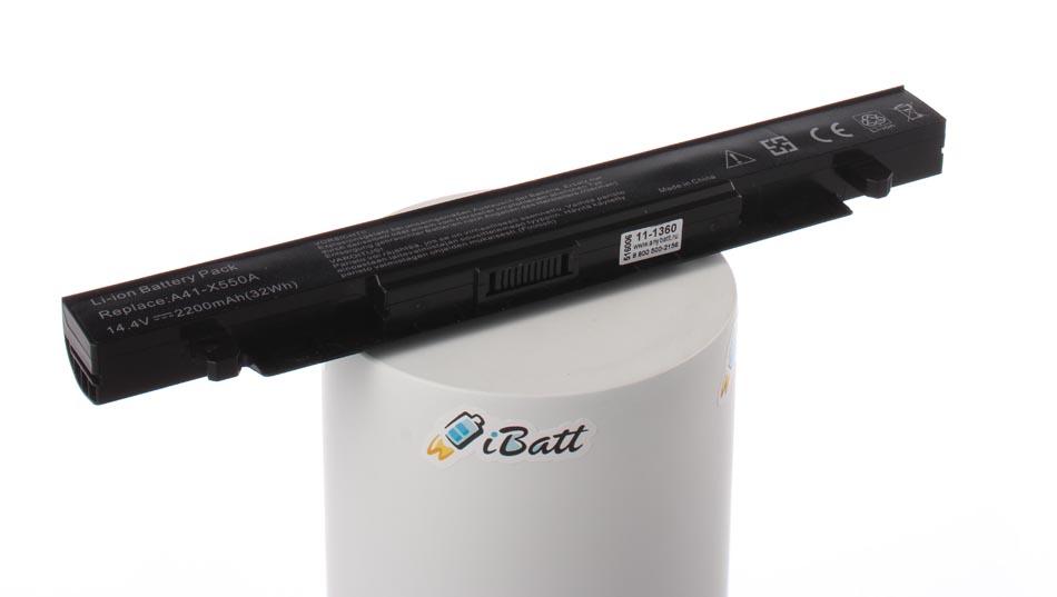 Аккумуляторная батарея A41-X550 для ноутбуков Asus. Артикул 11-1360.Емкость (mAh): 2200. Напряжение (V): 14,4