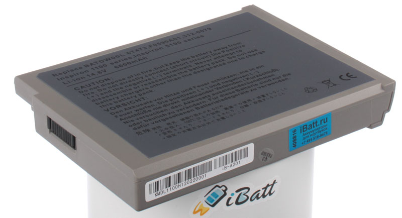 Аккумуляторная батарея BATDW00L для ноутбуков Dell. Артикул iB-A201.Емкость (mAh): 6600. Напряжение (V): 14,8