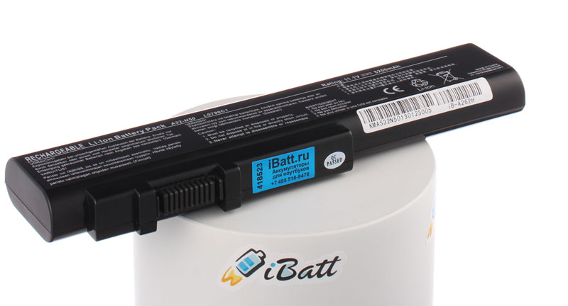 Аккумуляторная батарея для ноутбука Asus N51V. Артикул iB-A262H.Емкость (mAh): 5200. Напряжение (V): 11,1