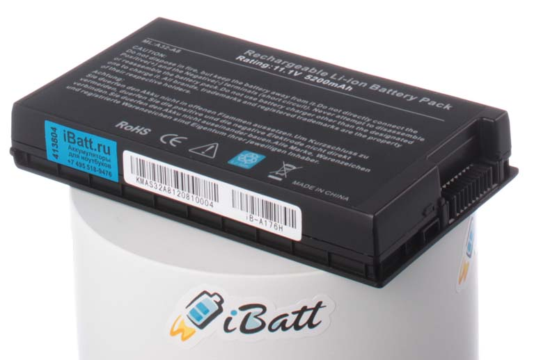 Аккумуляторная батарея для ноутбука Asus A8J. Артикул iB-A176H.Емкость (mAh): 5200. Напряжение (V): 11,1