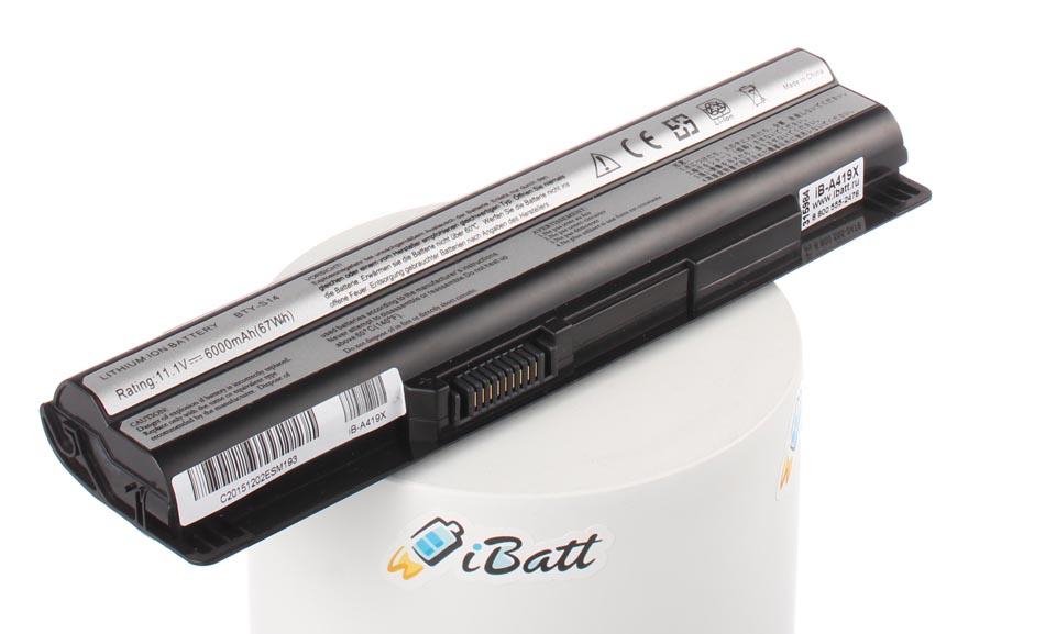 Аккумуляторная батарея iBatt iB-A419X для ноутбука MSIЕмкость (mAh): 5800. Напряжение (V): 11,1