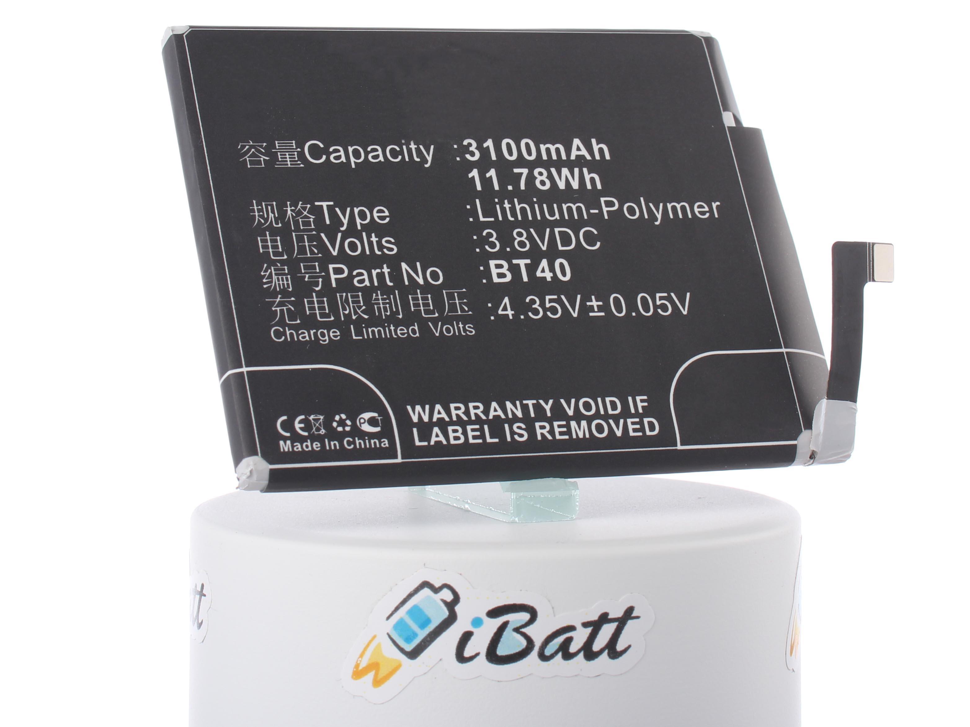 Аккумуляторная батарея BT40 для телефонов, смартфонов Meizu. Артикул iB-M828.Емкость (mAh): 3100. Напряжение (V): 3,8