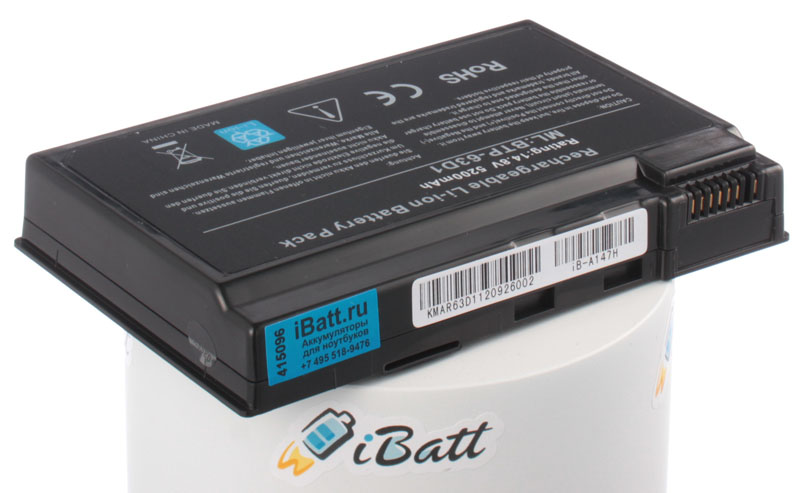 Аккумуляторная батарея для ноутбука Acer TravelMate 4400WLMi. Артикул iB-A147H.Емкость (mAh): 5200. Напряжение (V): 14,8