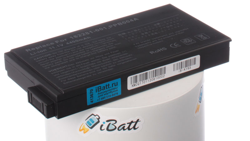 Аккумуляторная батарея для ноутбука HP-Compaq Presario 1723TC. Артикул iB-A193.Емкость (mAh): 4400. Напряжение (V): 11,1