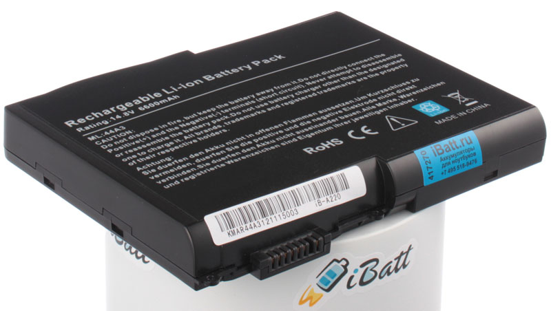 Аккумуляторная батарея для ноутбука Acer Aspire 1605. Артикул iB-A220.Емкость (mAh): 6600. Напряжение (V): 14,8